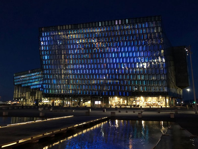 Harpa Concert Hall Iceland in blue